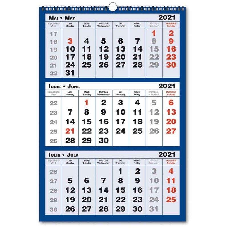 Calendar Triptic 2021, 3 Culori, 33X48 Cm pertaining to Calendar Zile Lucratoare 2021 Upromania