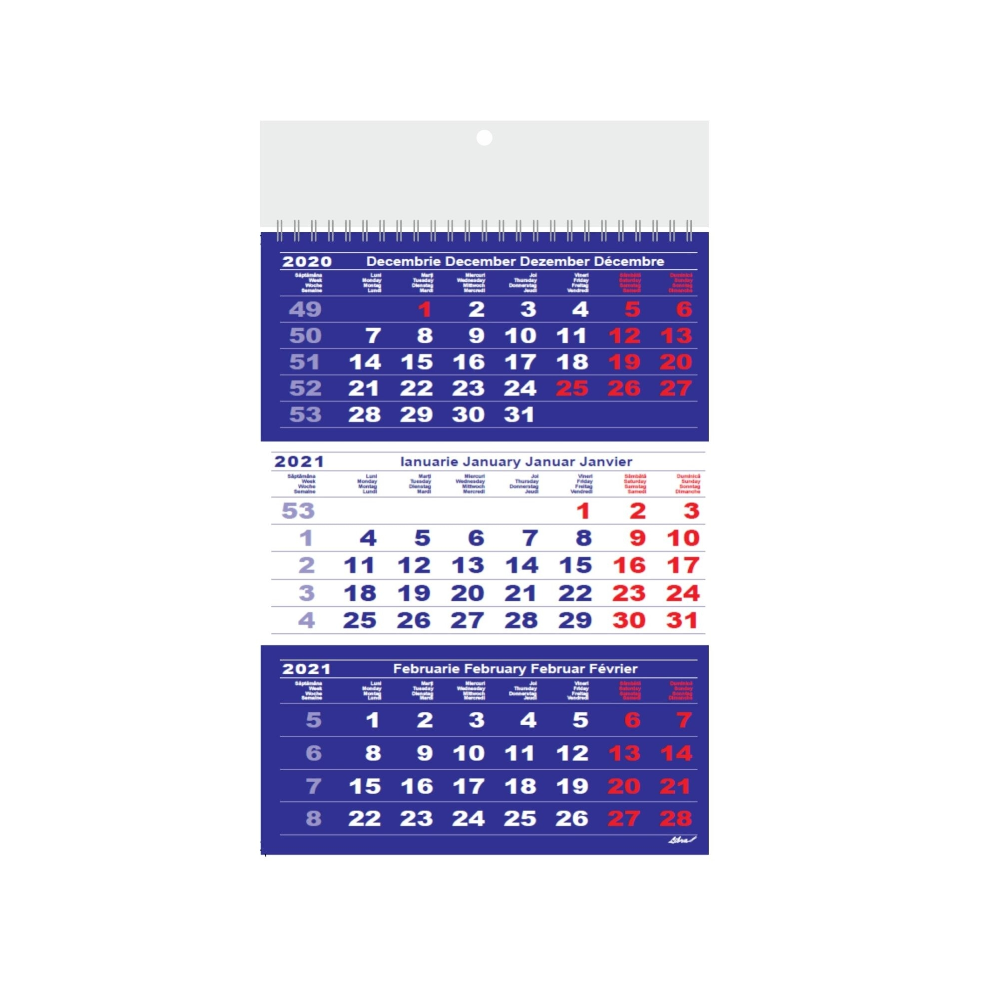 Calendar Triptic A3 2021 12File Hartie Lucioasa, Albastru Si Rosu - Emag.ro for Calendar Zile Lucratoare 2021 Upromania