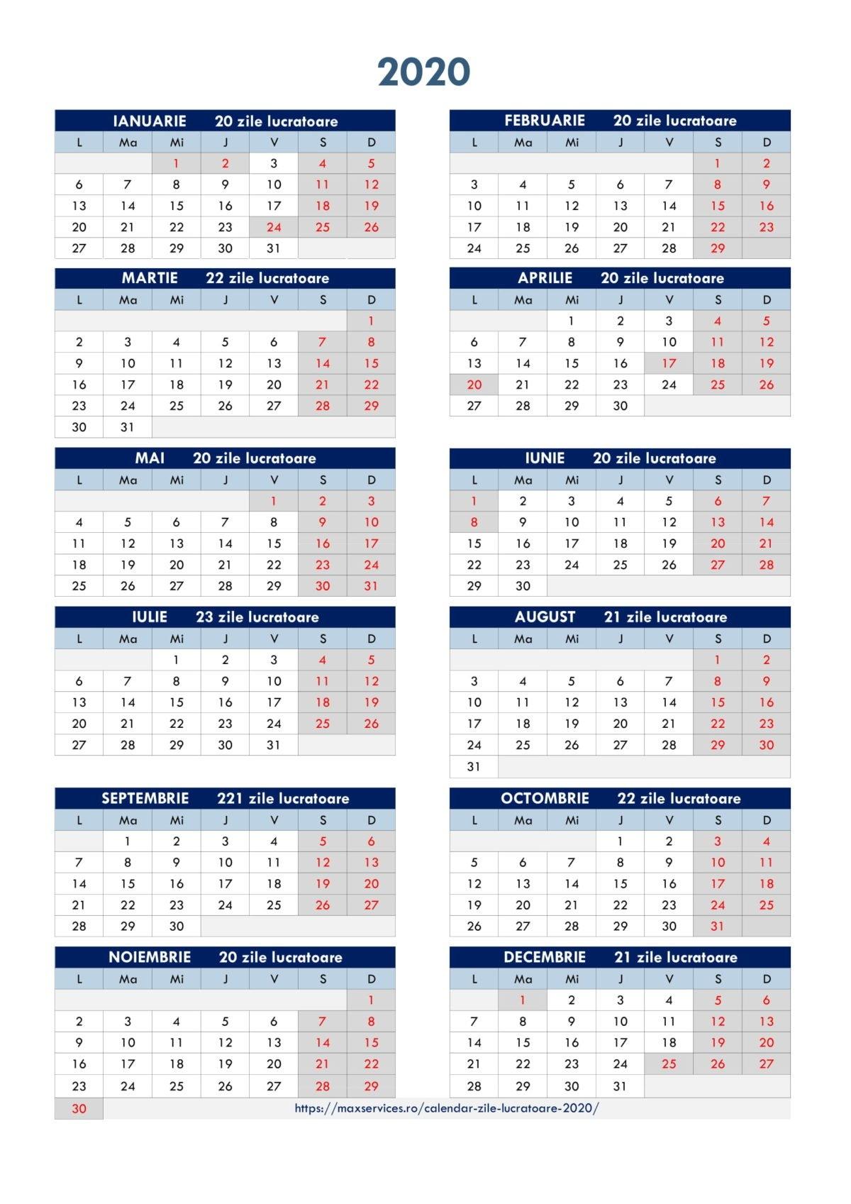 Calendar Zile Lucratoare 2020 - Servicii Resurse Umane inside Calendar Cu Zile Libere Legale Pentru 2021