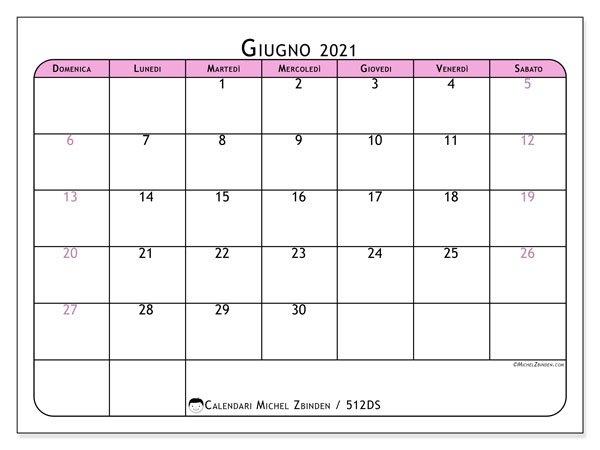 """Calendari Giugno 2021 """"Domenica - Sabato"""" - Michel Zbinden It for Calendario 2021 Italia Calendarpedia"""