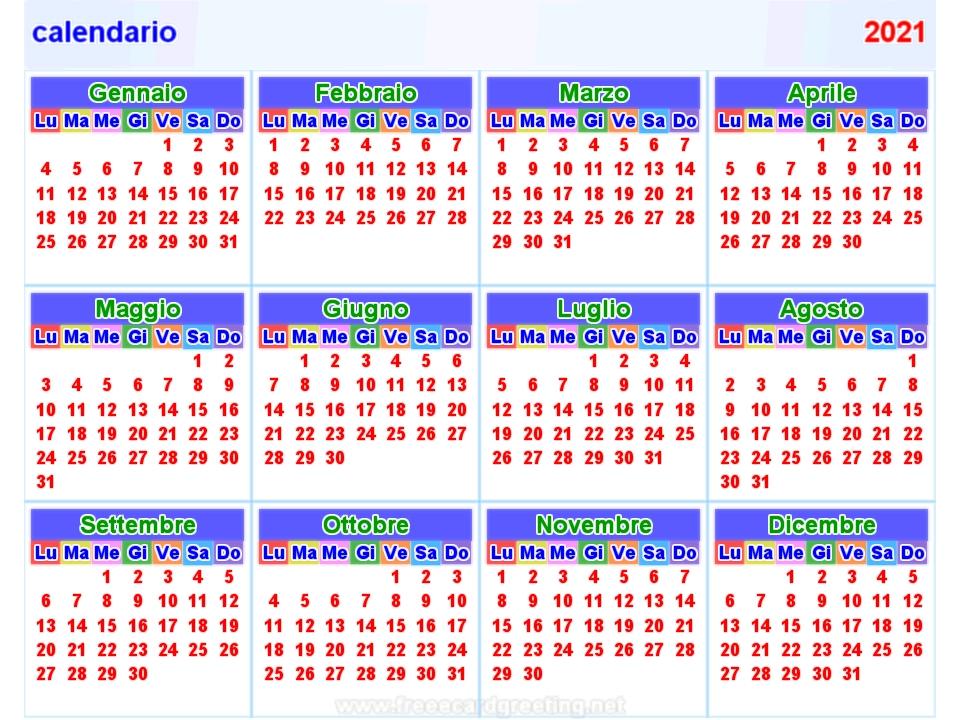 Calendario 2021 Orizzontale E Verticale throughout 2021 Broadcast Calendar Printable