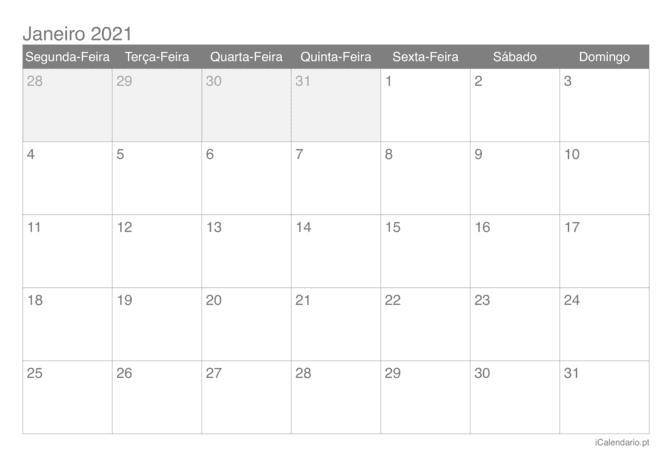 Calendário 2021 Para Imprimir - Icalendário.pt with regard to Calendario 2021 En Excel