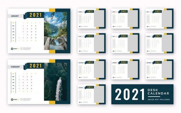 Calendário De Mesa 2021 Imprimir Modelo Pronto | Psd Premium inside Church Calendar 2021 Psd Image