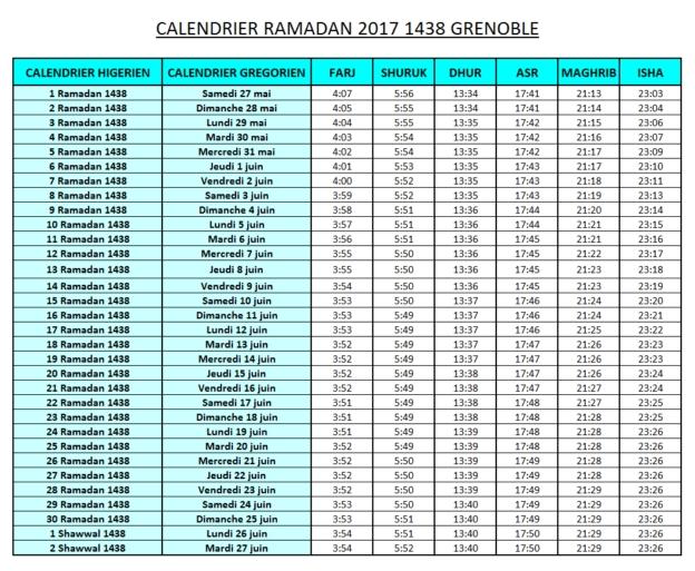 Calendrier Ramadan 2017 Grenoble Horaires De Prière | Calendars 2021 intended for Pennsylvania Ramadan Calendar 2021 Photo