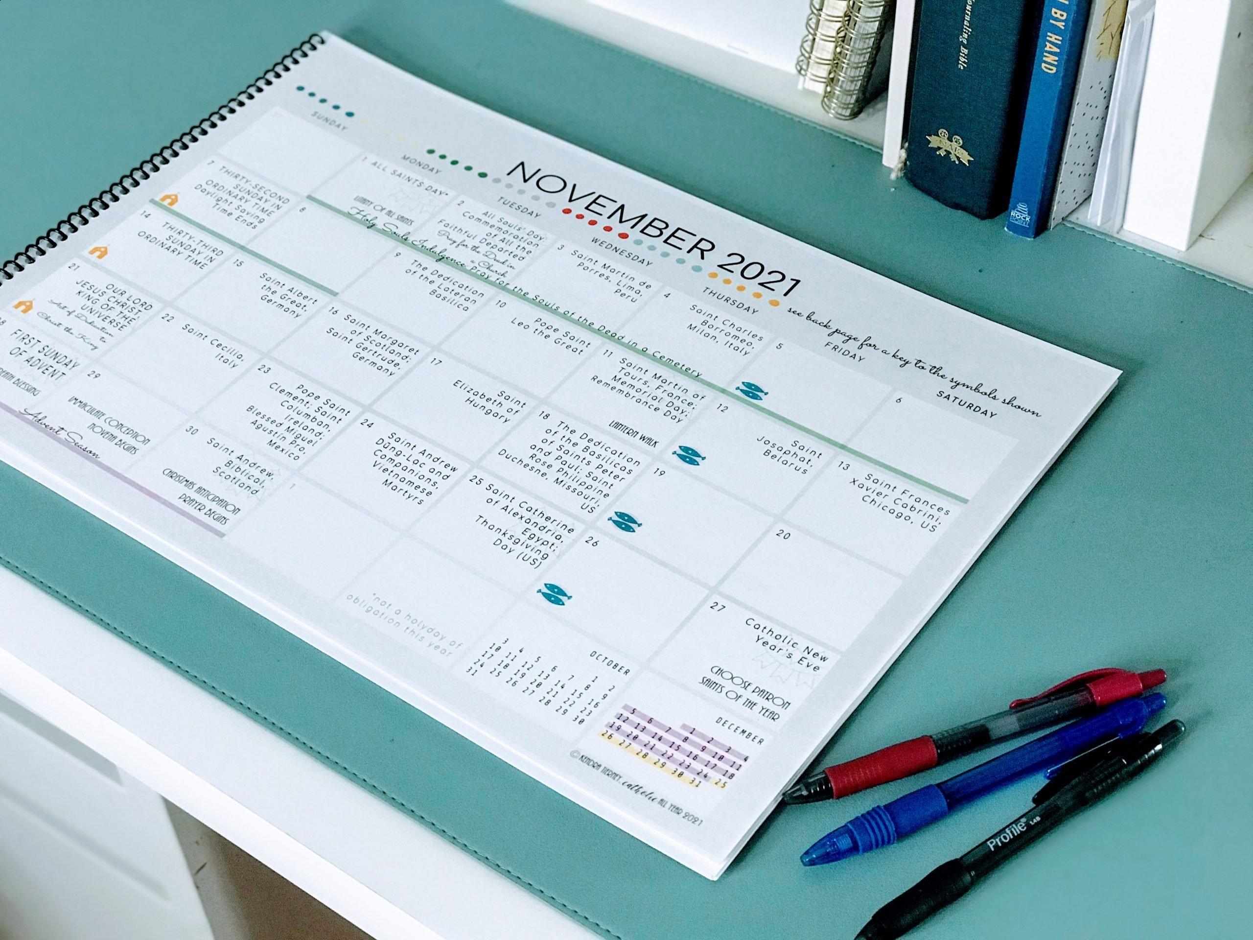 Catholic All Year 2021 Liturgical Desk Calendar Large Format 11X17 *Digital Download* - Catholic throughout Church Calendar 2021 Psd
