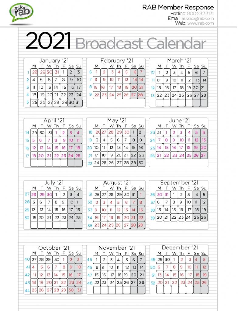 Cbs Calendar Template - Calendar Template 2021 with 2021 Broadcast Calendar Printable Photo