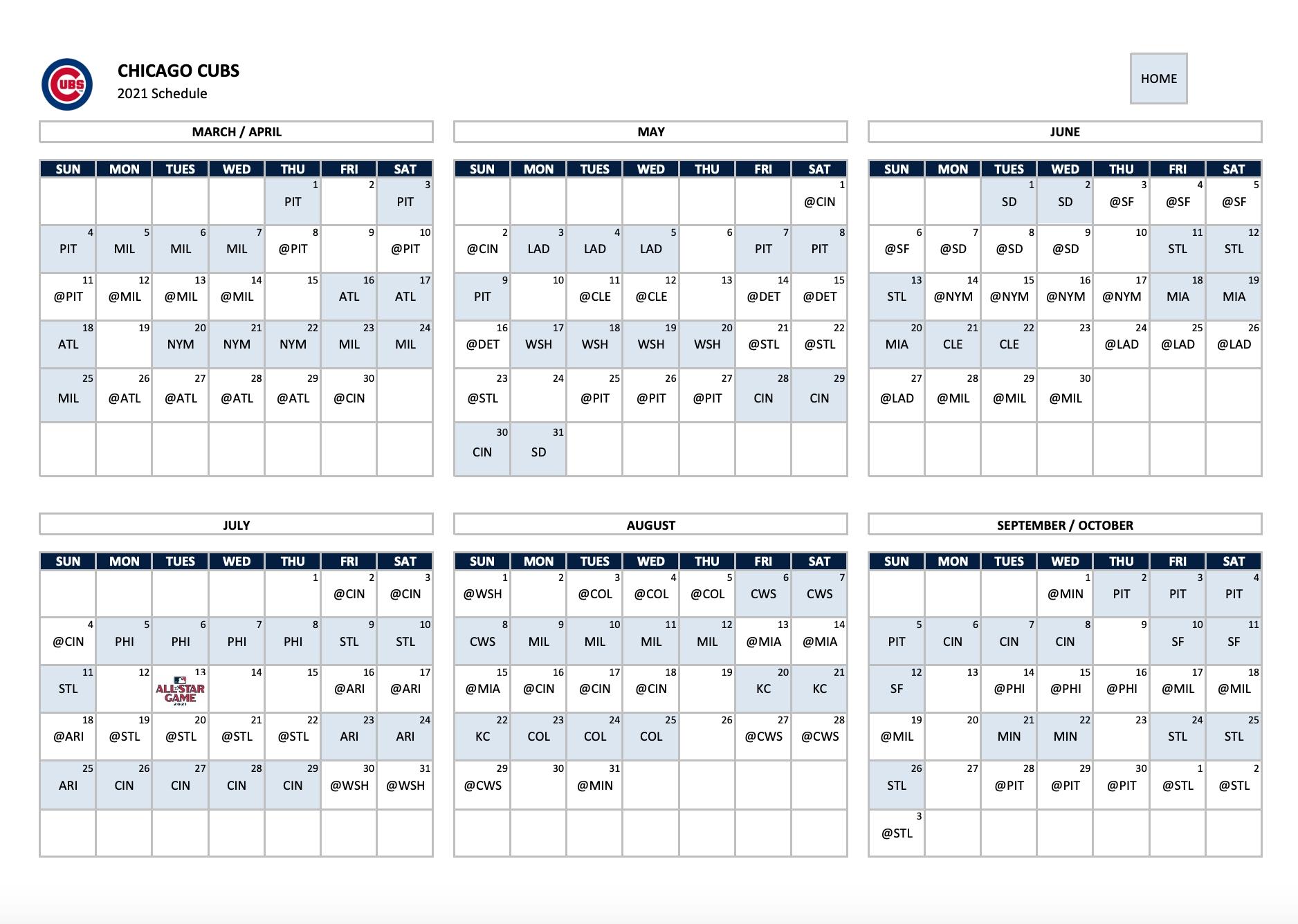 Chicago Cubs Calendar 2021   Huts Calendar pertaining to Broadcast Calendar 2021 Printable Photo