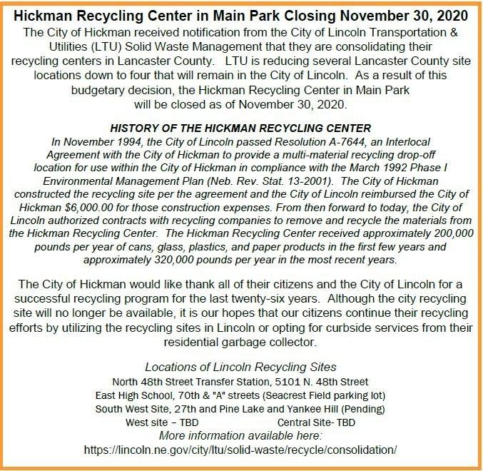 City Of Hickman - Recycling Center Closing November 30, 2020 regarding 30 Day Med Expiration Calendar 2021 Graphics
