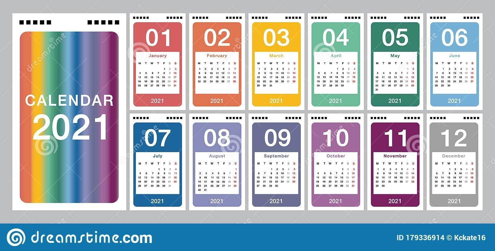 Colorful Year 2021 Calendar Vector Design Template, Simple And Clean Design. Calendar For 2021 in Calendar 2021 Design In Illustrator