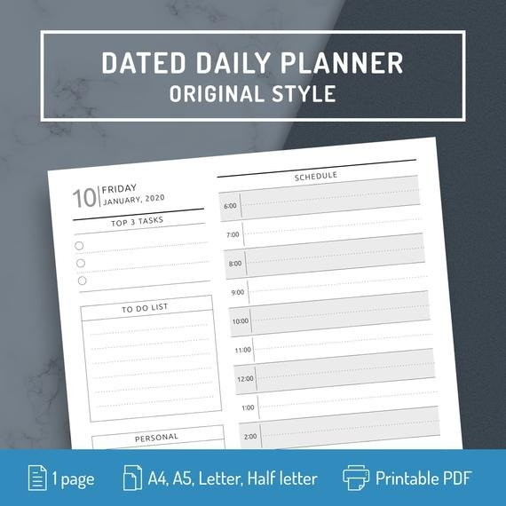 Daily Planner Page Daily Planner 2020 2021 Printable Dated | Etsy within Printable Daily Calendar 2021