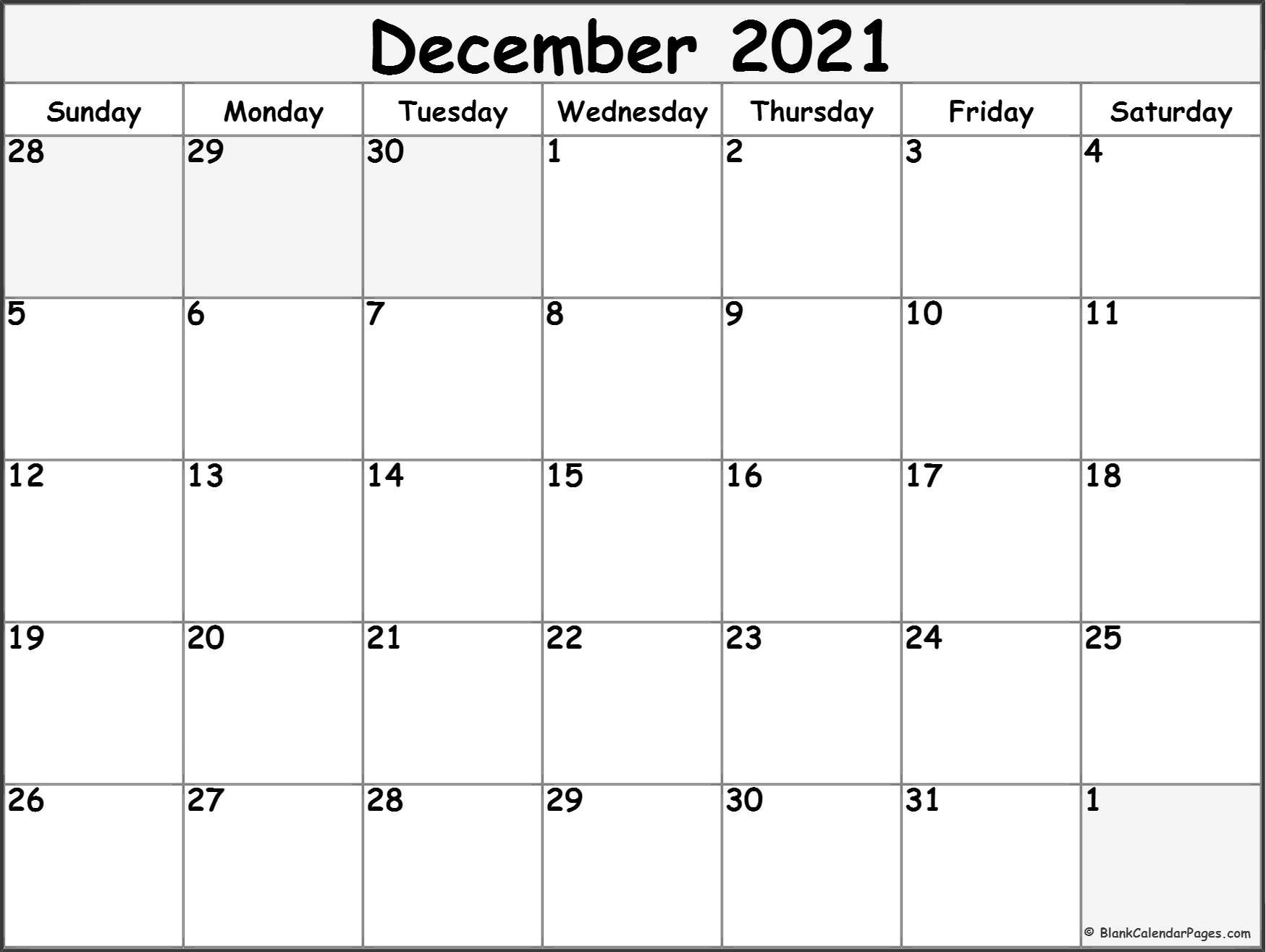 December 2021 Calendar | Free Printable Calendar in 2021 Free Printable Weekly Calendar Blank Image
