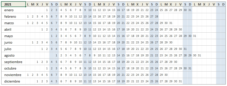 Descarga El Calendario 2021 En Excel • Excel Total for Calendario 2021 En Excel