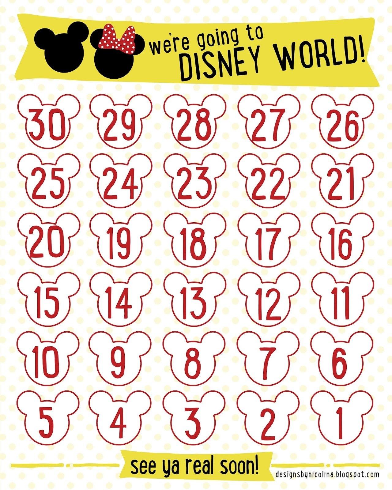 Designsnicolina: Disney Countdown! /// Free Printable with regard to 6 Week Countdown Calendar Photo