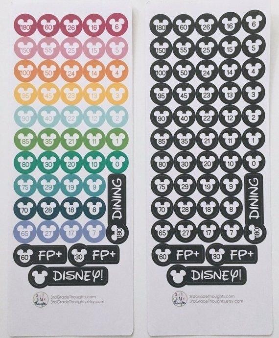 Disney Countdown Stickers {Disney Planner Stickers}   Disney Countdown, Disney Planner, Planner with 180 Day Countdown To Disney