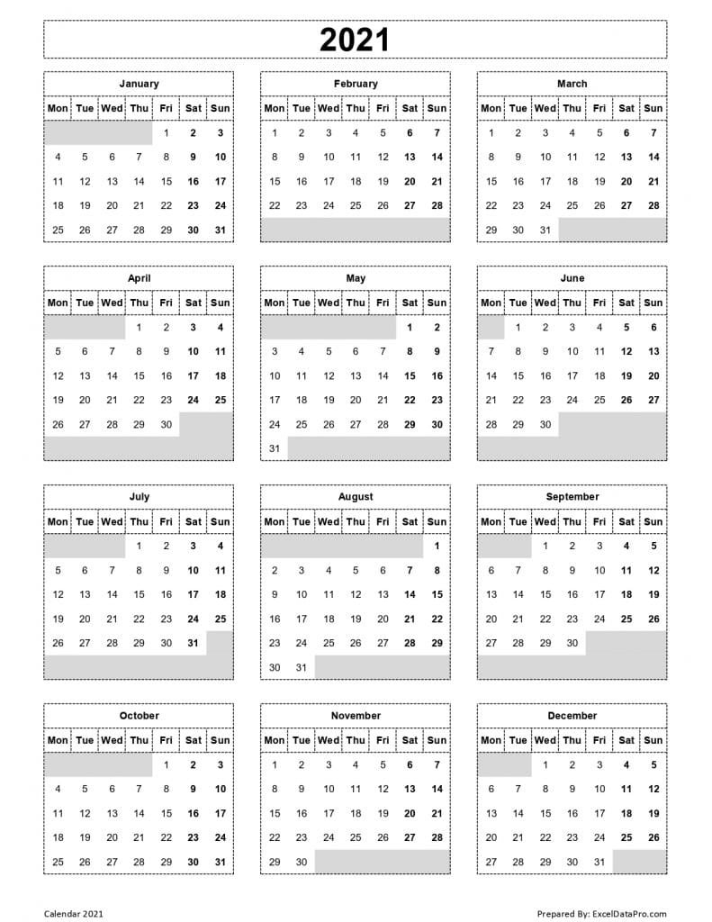 Download 2021 Yearly Calendar (Mon Start) Excel Template - Exceldatapro for Free 2021 Calendar Excel Image
