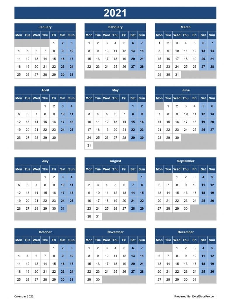 Download 2021 Yearly Calendar (Mon Start) Excel Template - Exceldatapro with regard to 2021 Yearly Calendar Template Printable Photo