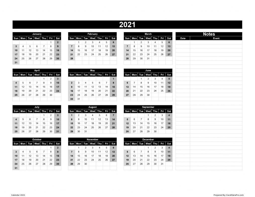 Download 2021 Yearly Calendar (Sun Start) Excel Template - Exceldatapro regarding Calendar Template 2021 Indesign Image