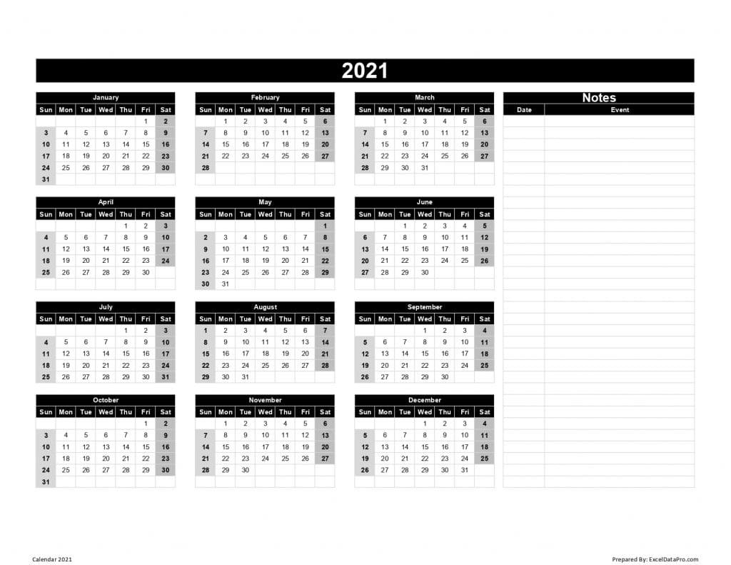 Download 2021 Yearly Calendar (Sun Start) Excel Template - Exceldatapro with Free 2021 Calendar Excel