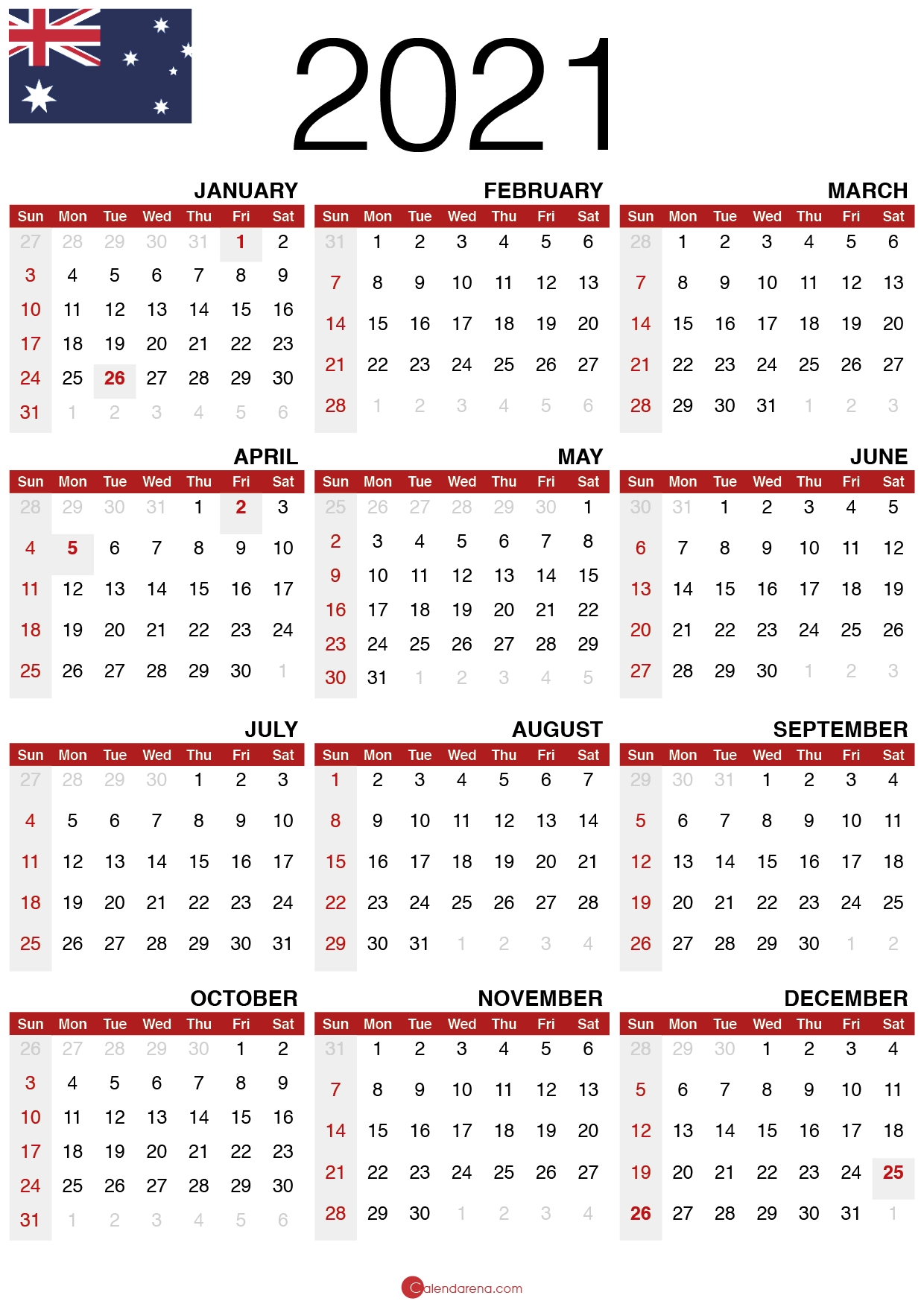 Download Free 2021 Calendar Australia 🇦🇺 intended for 2021 Australia Calendar With Holidays Photo