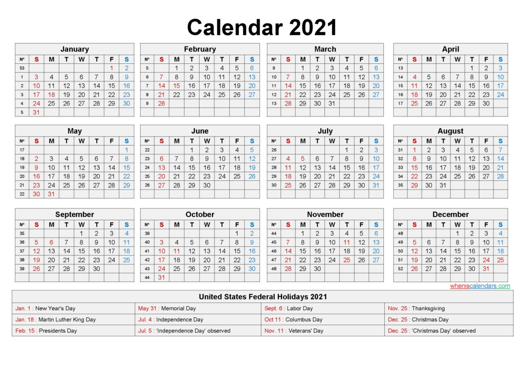 Download Free Printable 2021 Calendar With Holidays - Easy Print Calendar regarding 2021 Calendar Printable Free