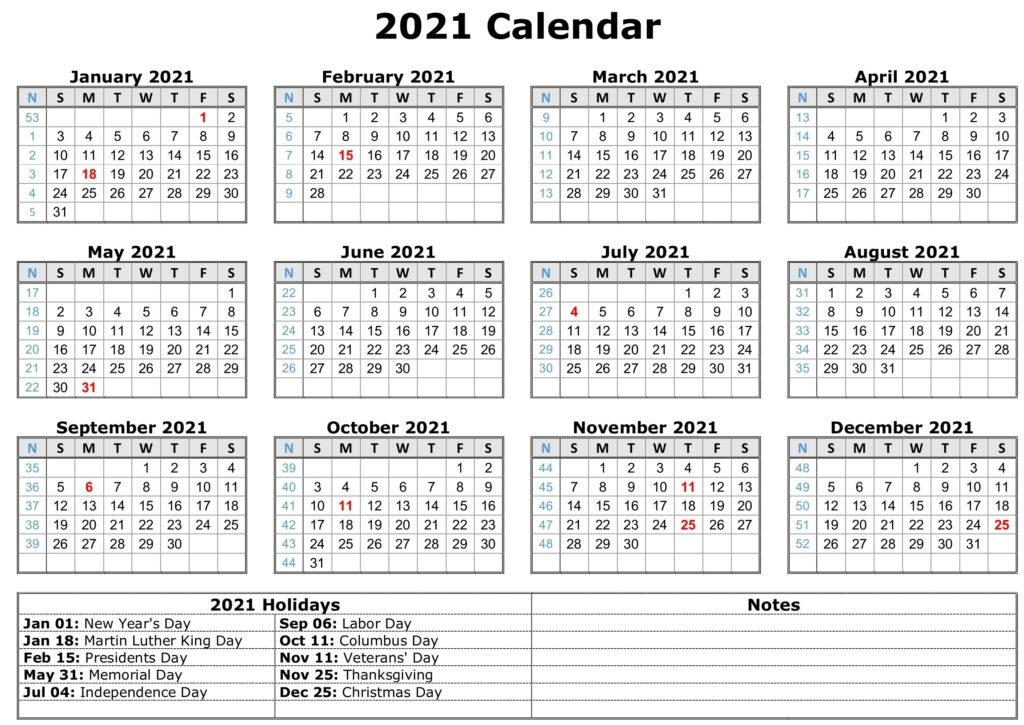 Download Free Printable 2021 Calendar With Holidays - Easy Print Calendar throughout 2021 Monthly Calendar Printable Free Image