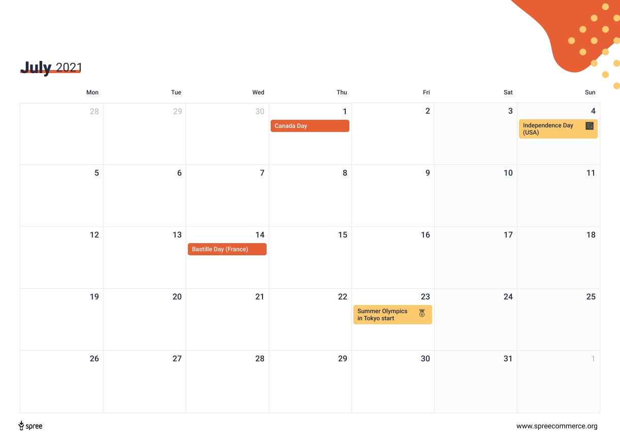 Download The 2021 Ecommerce Calendar - Holidays That Drive Online Sales inside Father'S Day 2021 Canada Photo