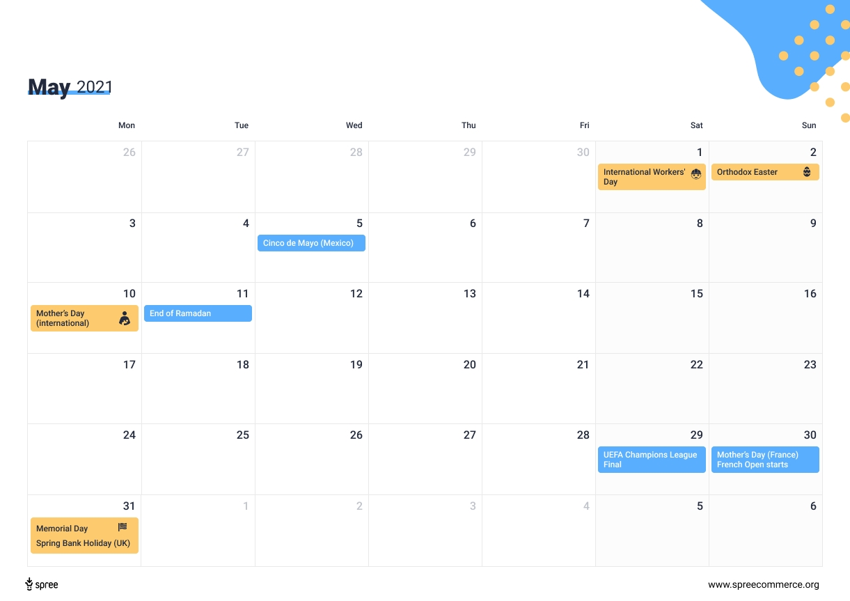 Download The 2021 Ecommerce Calendar - Holidays That Drive Online Sales throughout Father'S Day 2021 Canada Photo