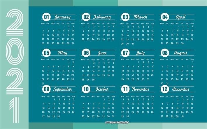 Download Wallpapers Blue 2021 Calendar, 4K, 2021 Concepts, 2021 All Months Calendar, 2021 in 4 5 4 Calendar 2021 Image