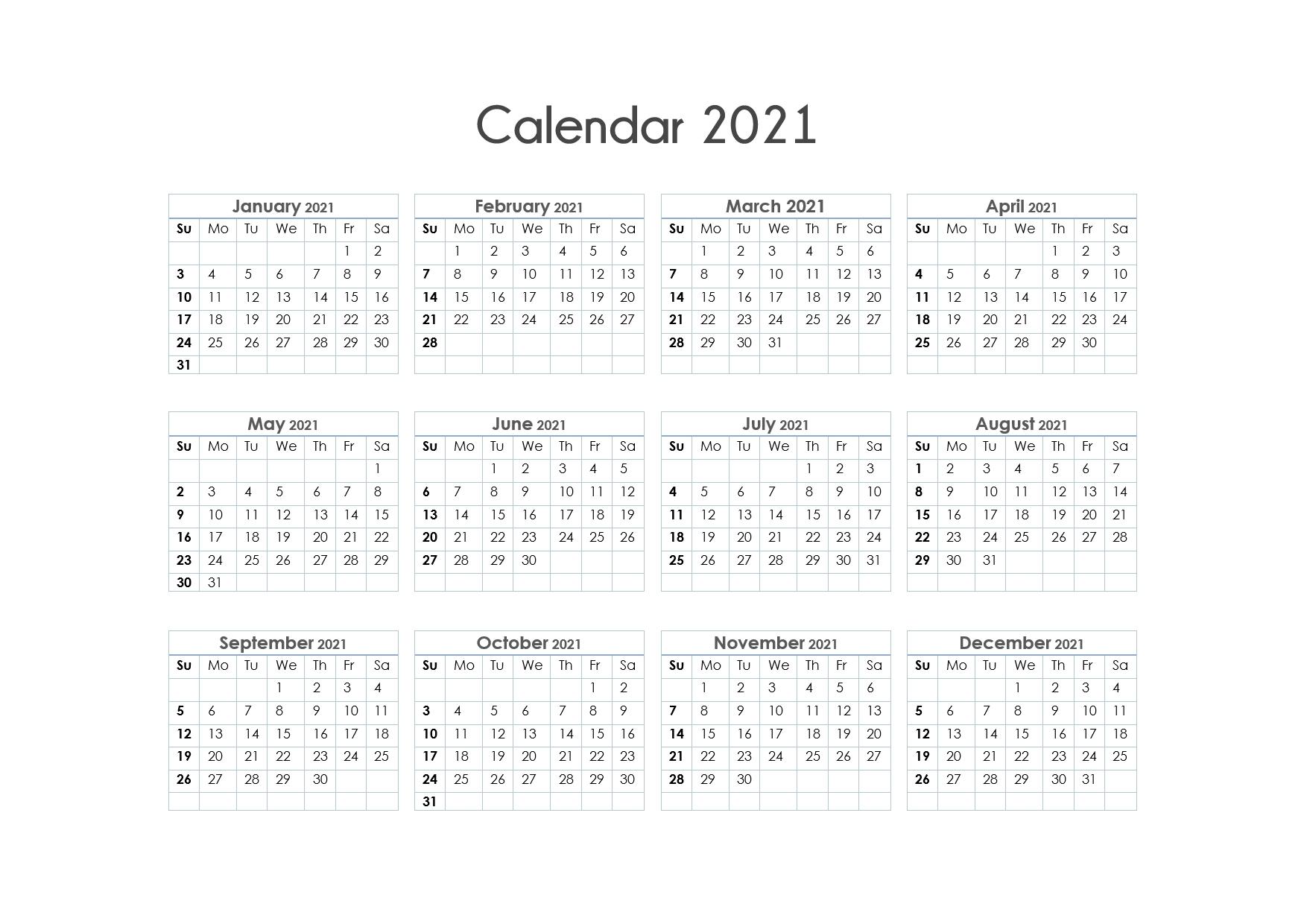 Edi Suparman - Page 11 - Template Calendar Design pertaining to 2021 Calendar Printable One Page Photo