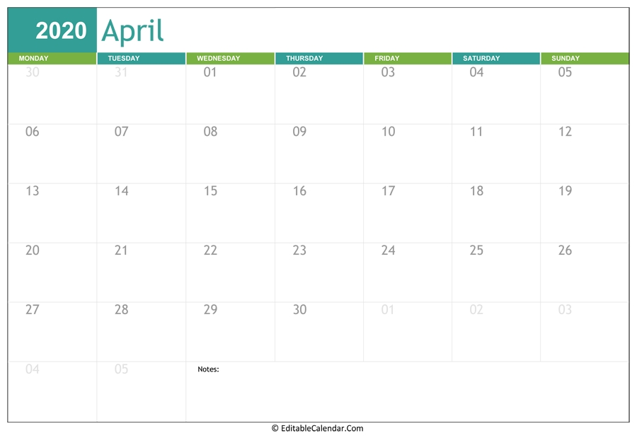 Editable Calendar April 2020 throughout Free Calendars You Can Edit 2021 8 1/2 X 11