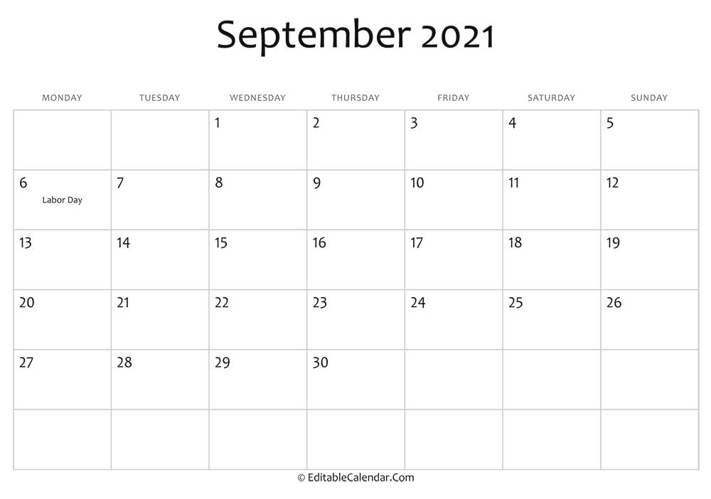 Editable Calendar September 2021 within Free Calendars You Can Edit 2021 8 1/2 X 11