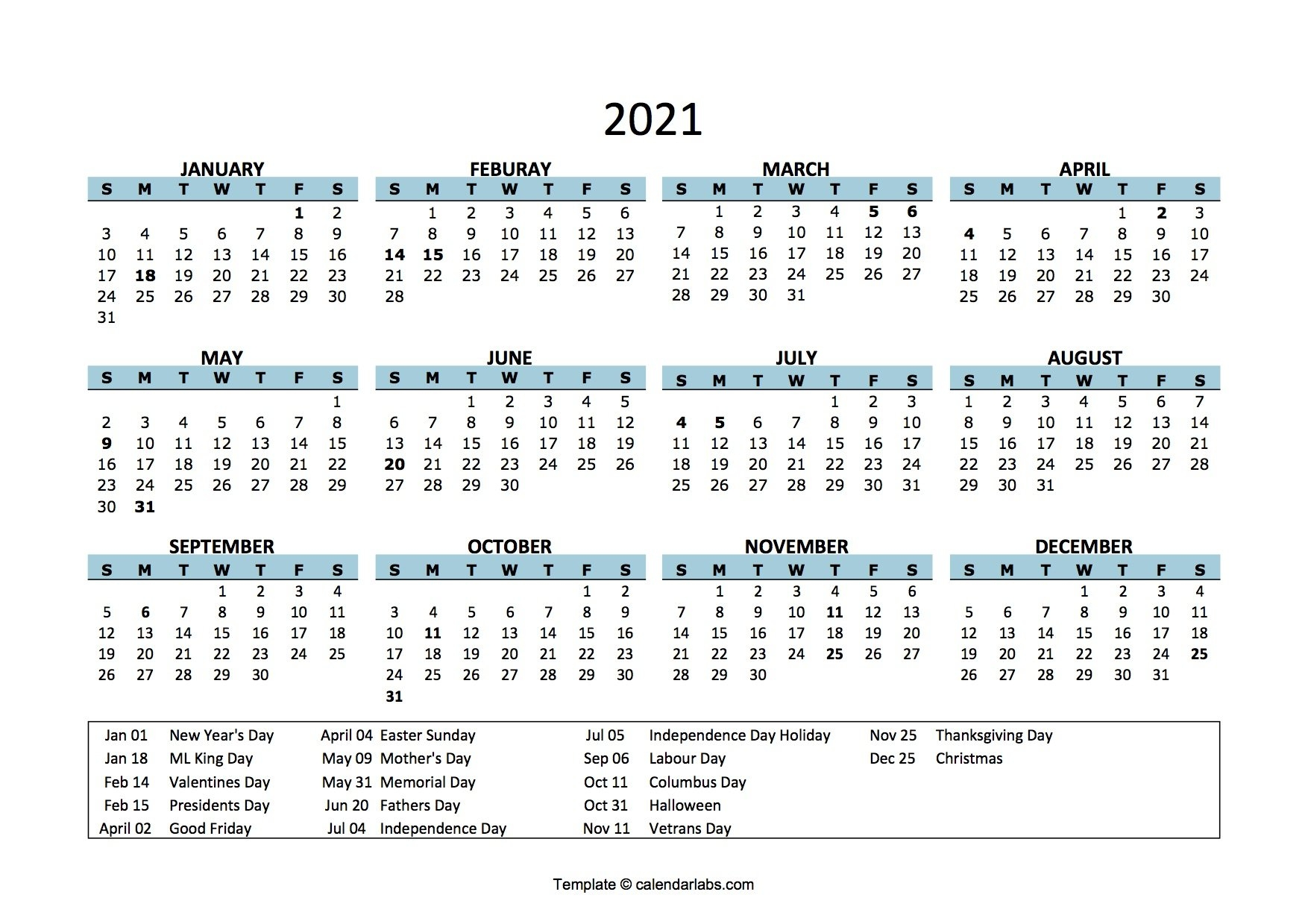 Editable Free Printable 2021 Calendar With Holidays / Yearly Calendar 2021 | Free Download And for Printable Calendars For 2021 Graphics