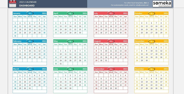 Excel Calendar Template 2021 Printable Spreadsheet Template | Etsy throughout Print Calendar 2021 In Excel