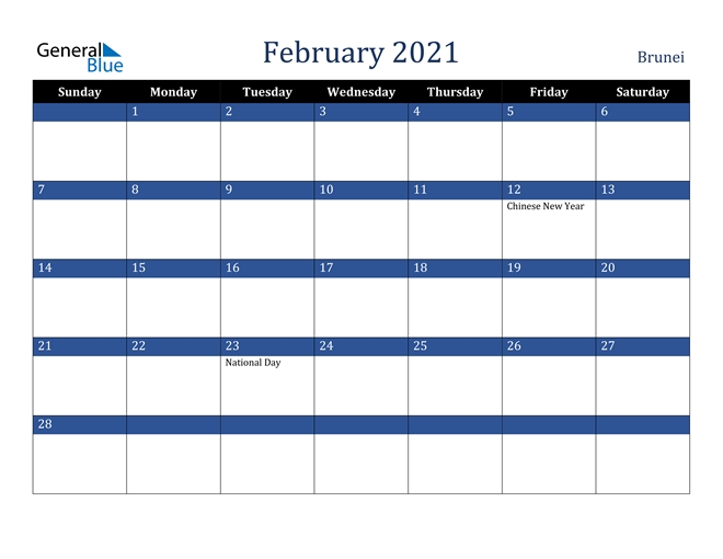 February 2021 Calendar - Brunei regarding Free Calendar Brunei 2021 Graphics