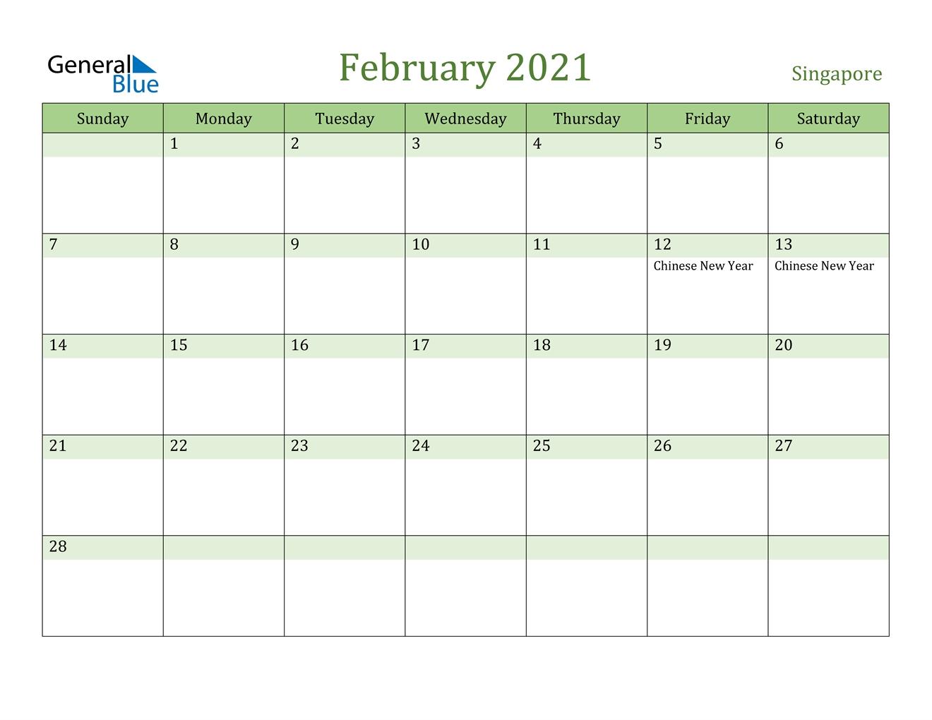 February 2021 Calendar - Singapore pertaining to 2021 Holidays Calendar Singapore Outlook Image