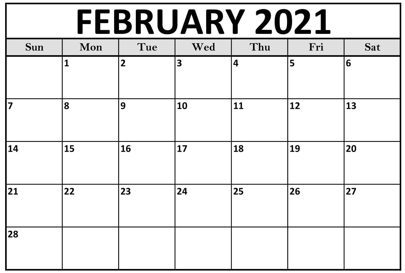 February 2021 Printable Calendar Monthly With Notes - Learnworksheet : Learn The Knowledge On throughout Free Printable Monthly Calendar 2021 With Lines Image