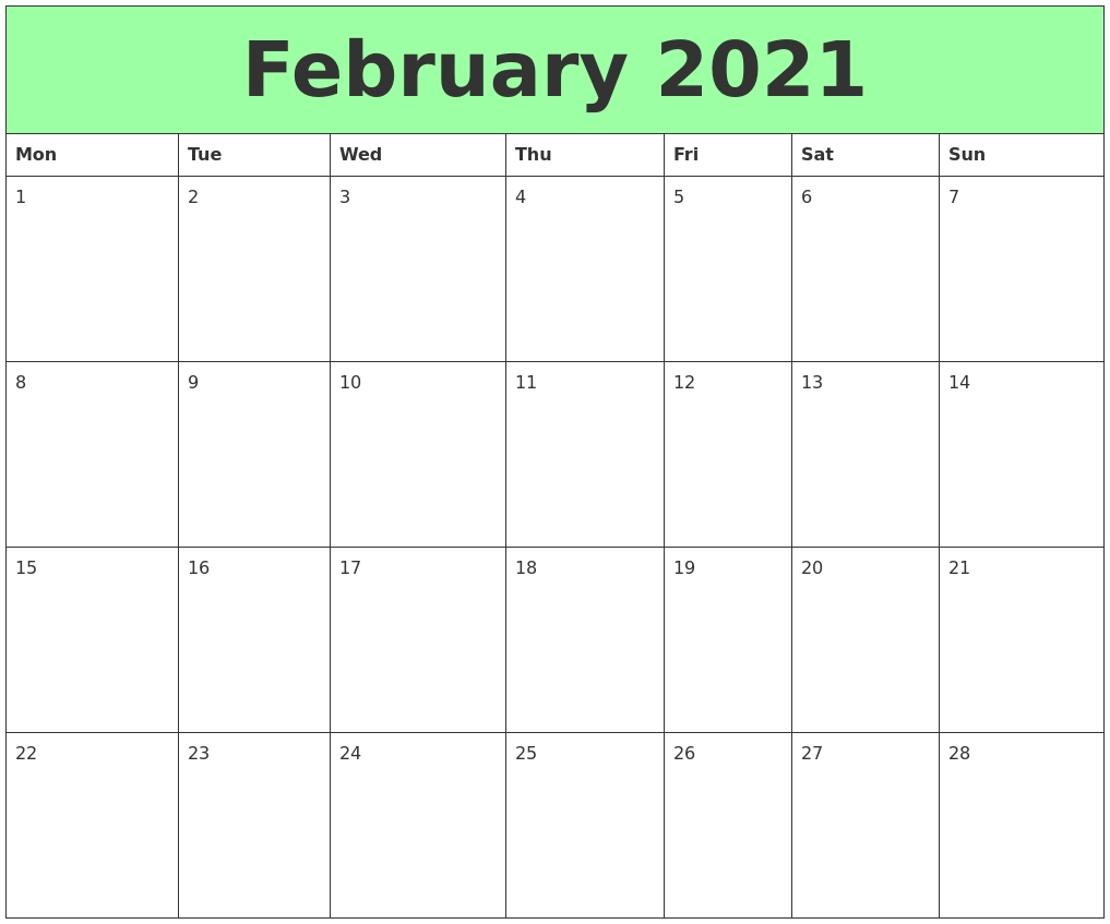February 2021 Printable Calendars - Calendar Template 2021 with regard to Printable Interactive 2021 Calendar Graphics