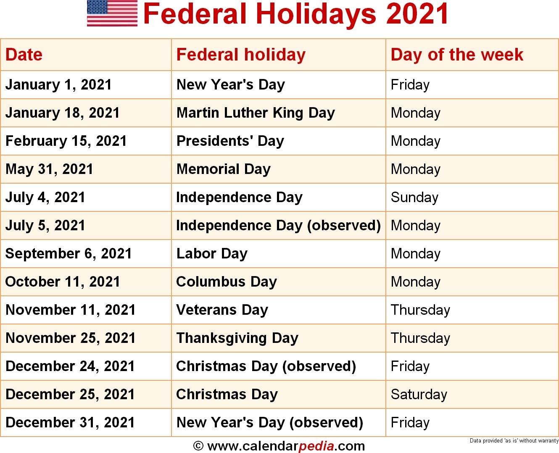 Federal Holidays 2021 Calendar - Example Calendar Printable intended for Bangladesh Govt Holidays 2021 Calendar Image