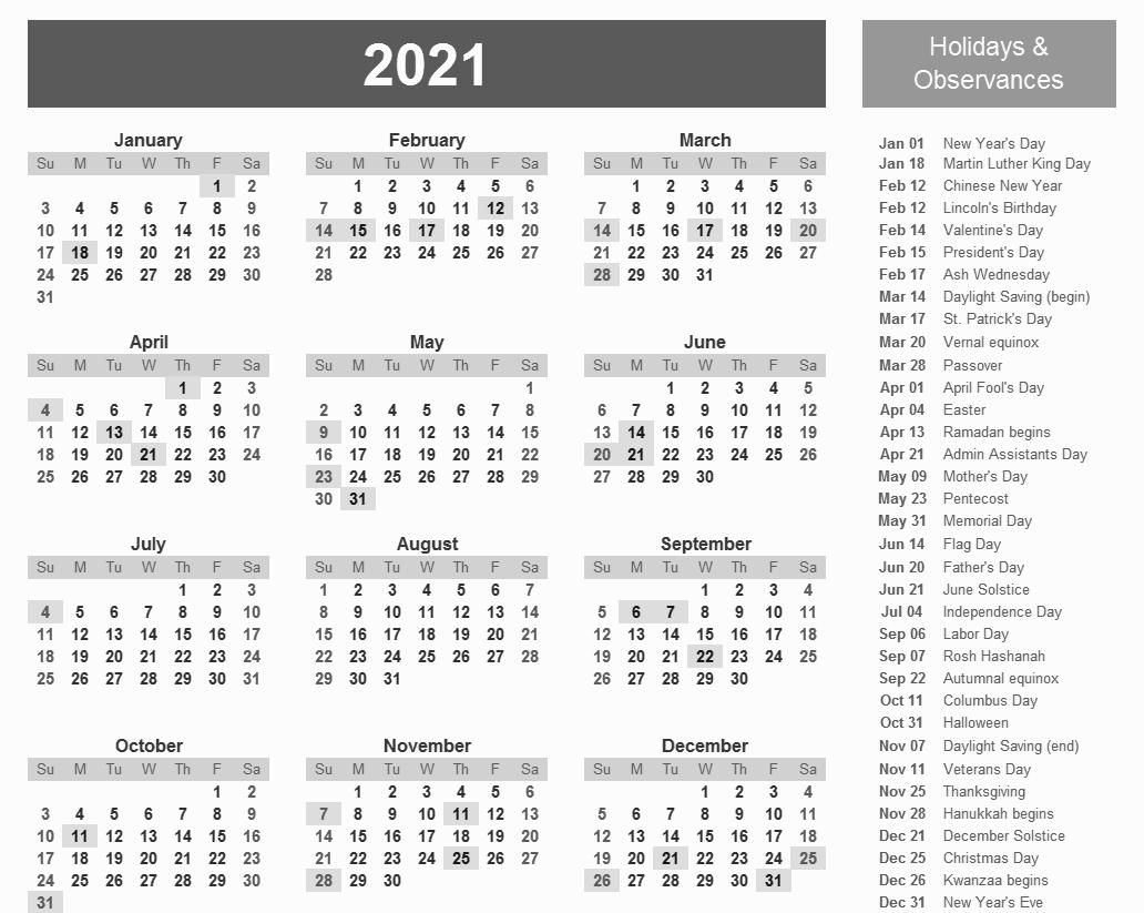 Federal Holidays 2021 Calendar - Example Calendar Printable within 2021 Printable Depo Calendar Photo
