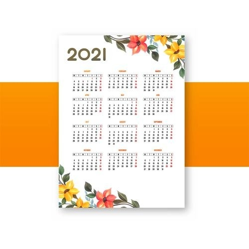 Flower Style 2021 Calendar Vector Free Download within Template Piano Feire 2021 Graphics