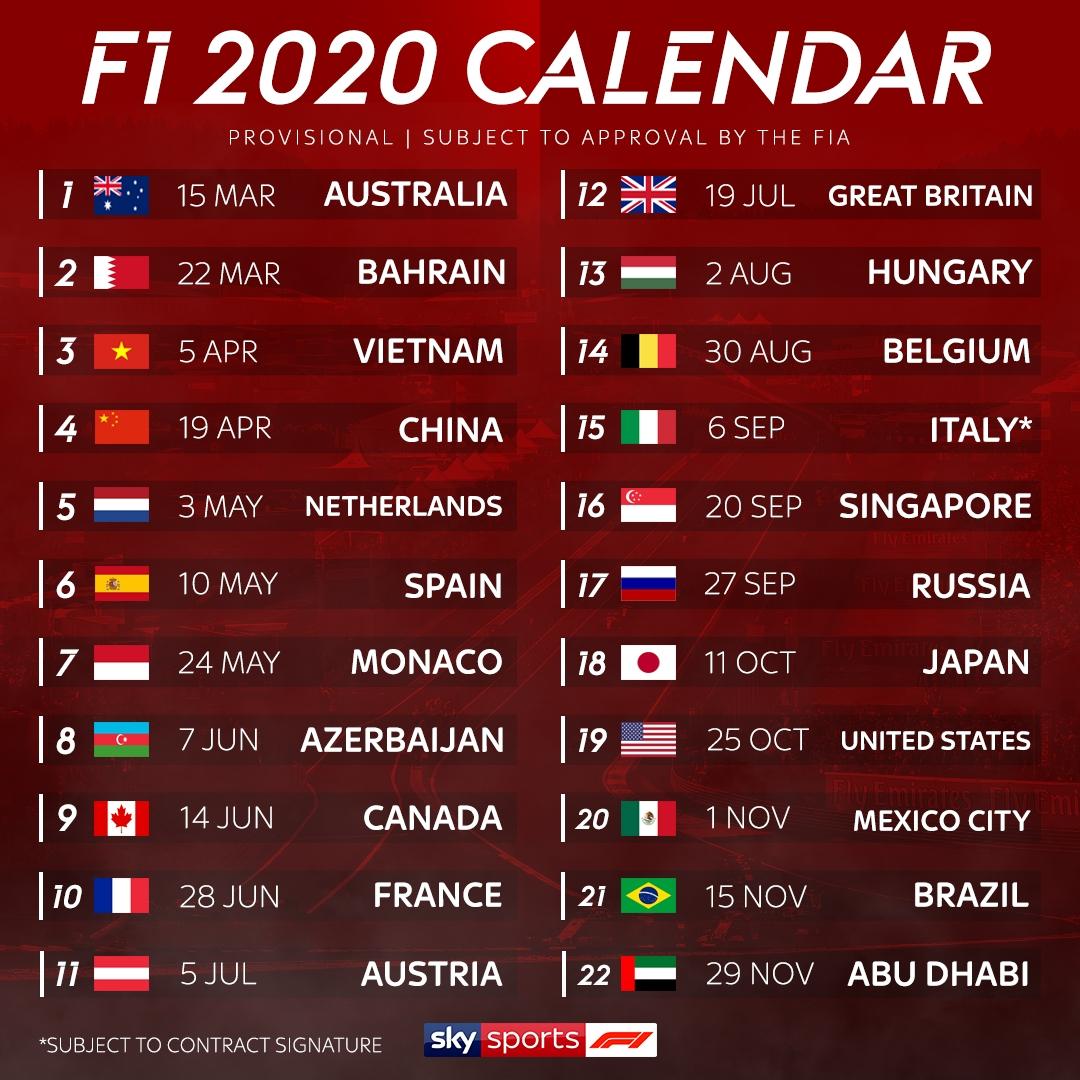 Formula 1 Calendar 2020 Tickets | Calendar Printables Free Templates with Printable 2021 F1 Series Schedule