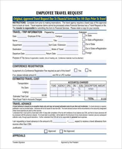 Free 10+ Sample Travel Request Forms In Pdf | Ms Word | Excel in Vacation Employee Planners Canadian Image