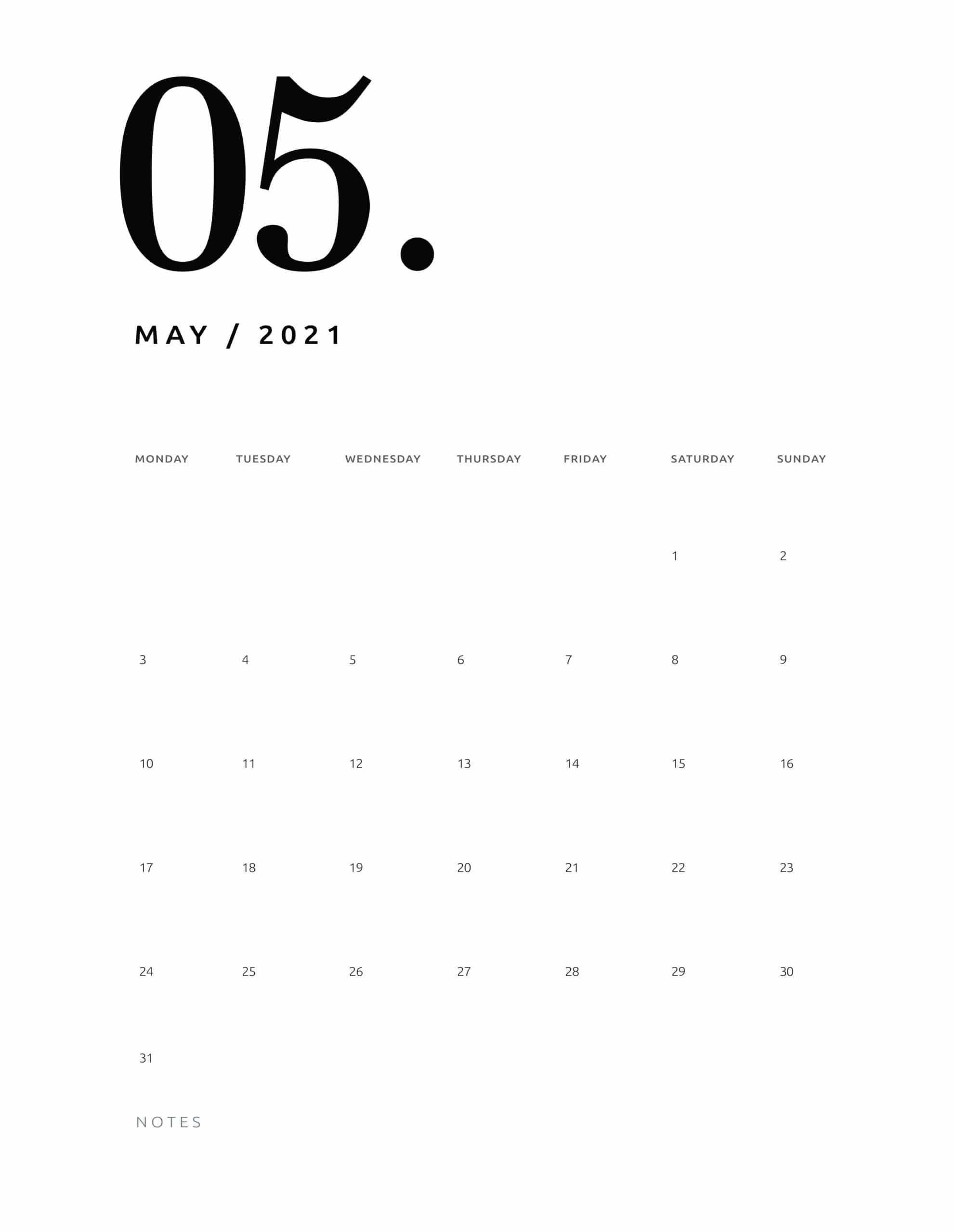 Free 2021 Calendar Numerical - World Of Printables within Which Calendar Year Match 2021