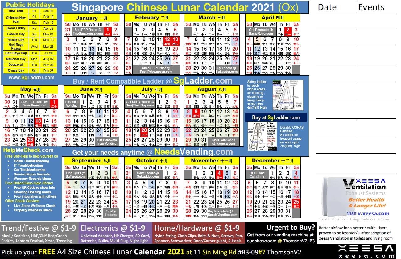Free 2021 Lunar Calendar | Month Calendar Printable for Printable Calendar 2021 Singapore Photo