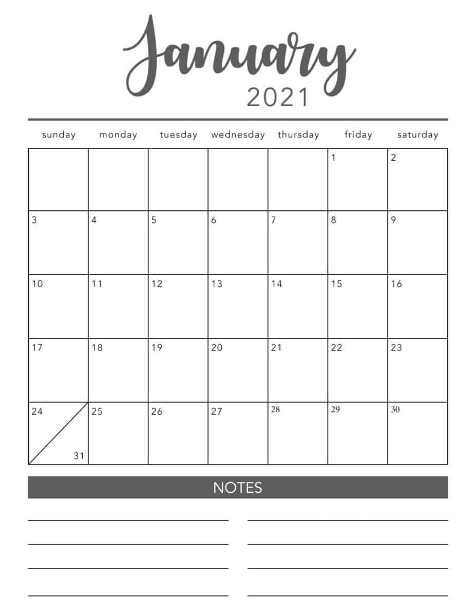 Free 2021 Printable Calendar Template (2 Colors!) - I Heart Naptime for Printable Calendar 2021 With Lines