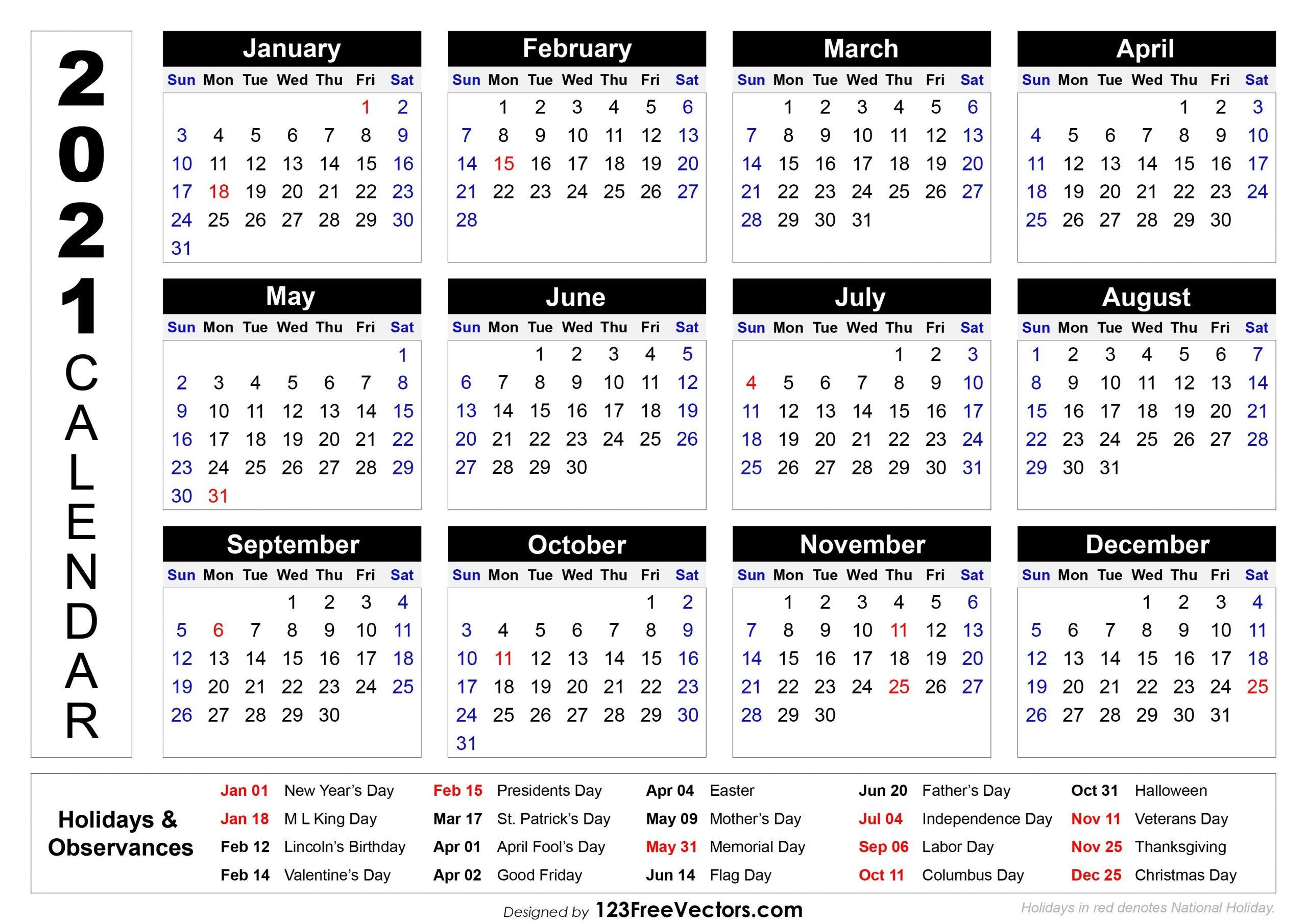 Free 2021 Printable Calendar With Holidays in Calendar 2019 2021 2021 Printable Free