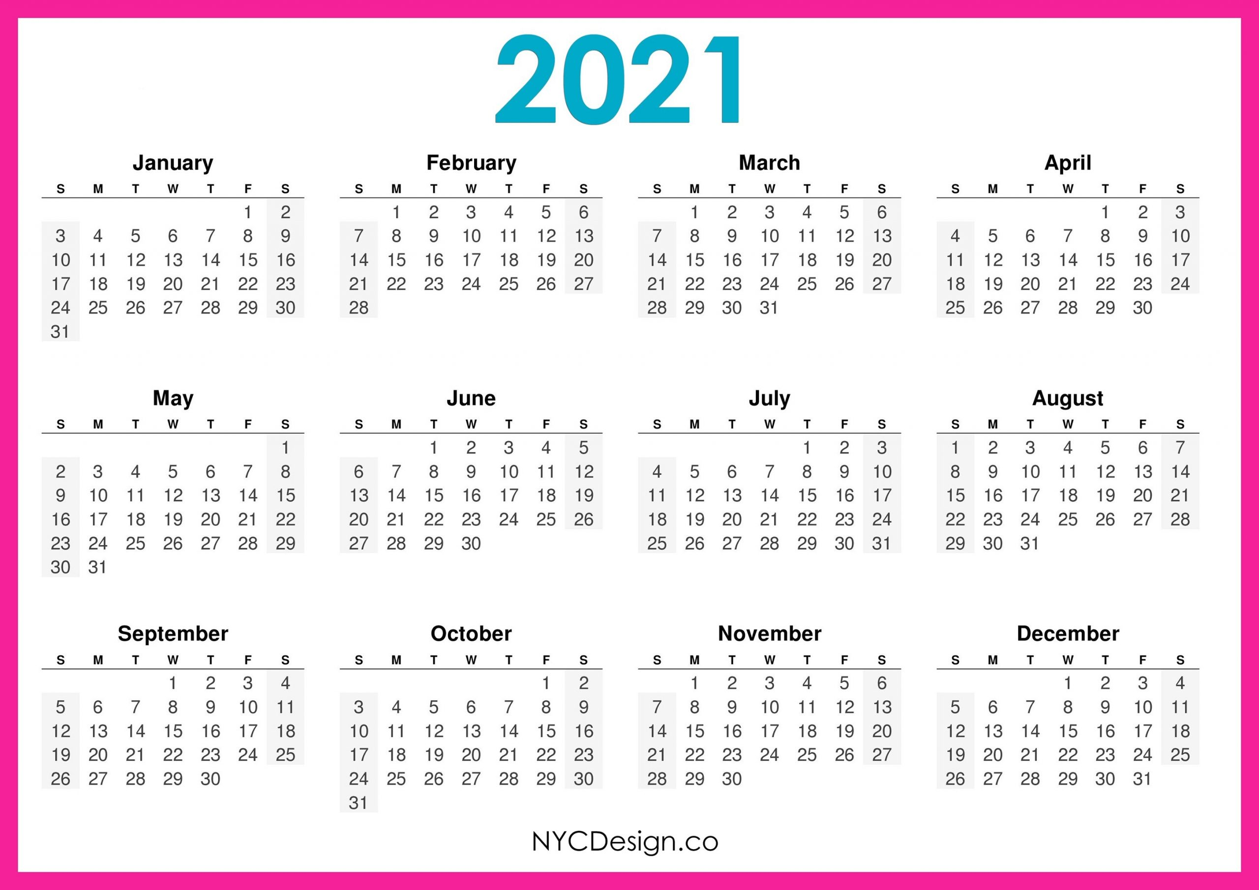 Free 2021 Yearly Calender Template / 12 Month Colorful Calendar For 2021 - Free Printable inside 2021 Printable Full Year Calendar