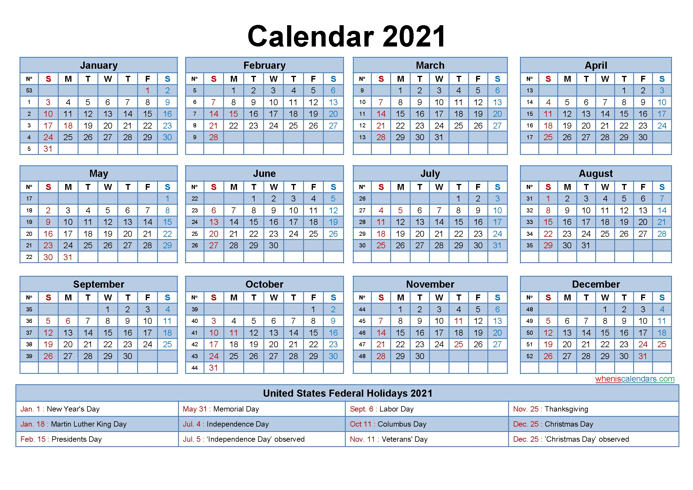 Free 2021 Yearly Calender Template / 12 Month Colorful Calendar For 2021 - Free Printable within 2021 Printable Monthly Calendar