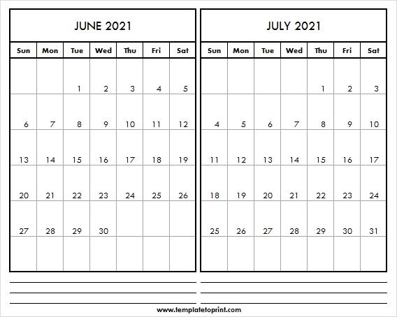 Free Blank Calendar June July 2021 | Calendar 2021 Editable for June Editable Calendar 2021