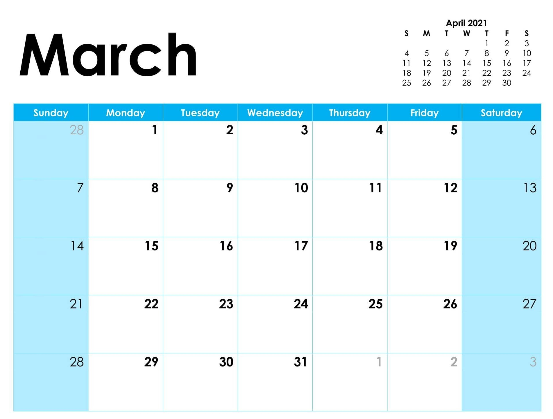 Free Calendar For March 2021 Template   Free Printable Calendar Shop inside Free Printable Calendar 2021 Daily